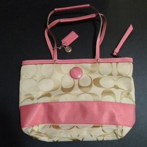 Coach Purse, Large, Cream and Pink